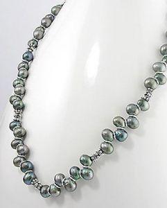 【送料無料】ネックレス スターリングシルバーネックレスピーコックブラックnoir paon vritable culture deau douce perles argent sterling 508cm collier