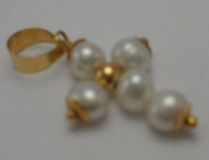 【送料無料】ネックレス ディパールオロciondolo croce crocetta di perle e oro