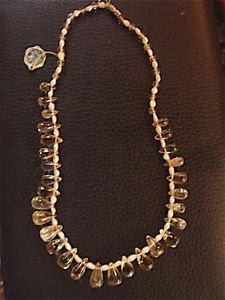 【送料無料】ネックレス ビンテージシトリンパールカラーcollier en citrine et perle deau vintage 1970 neuf
