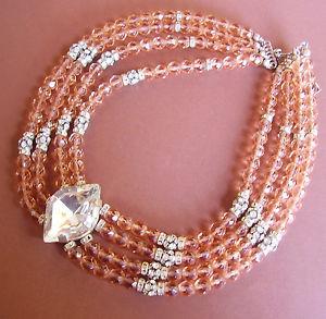 【送料無料】ネックレス ガラスビーズピンク640 collier draperie perles de verre rose et strass