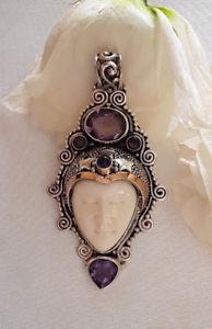 【送料無料】ネックレス クリエイションシルバーペンダントマスクagnes creations sublime pendentif argent 925 amp; masque os sculpte amp; 5 amethystes