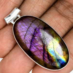 【送料無料】ネックレス ペンダントケースマウントpendentif protection labradorite violet trs rare monture argent 925 ref 9614