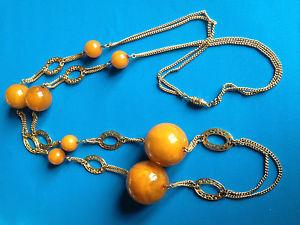 【送料無料】ネックレス ビンテージベークライトクランプボールオレンジベークライトオレンジビーズネックレス