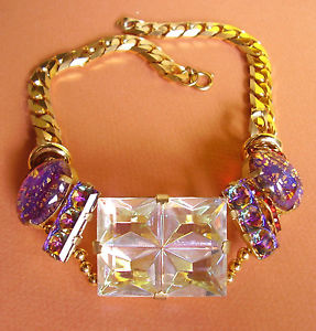 【送料無料】ネックレス チェーンドールガラスクランプ1209  incroyable collier verre irise sur chaine metal dore