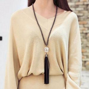 【送料無料】ネックレス タッセルプルペンダントネックレスチェーンas fr25981 2016 tassel pendentif pull a longue chaine de perles colliers metal