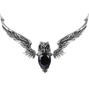 【送料無料】ネックレス フクロウペンダントブラックアテナクリスタルネックレスゴシックstryx vampire chouette pendentif athena noir collier cristal p753 alchemy gothic