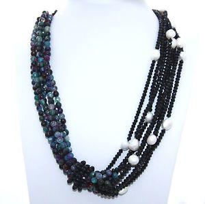 【送料無料】ネックレス collana donna 34 fili agata brasiliana turchese cristallo nero perle naturali