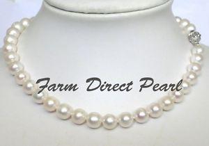 【送料無料】ネックレス ラウンドホワイトパールネックレスlong 508cm vritable rond 910mm blanc collier de perles culture deau douce