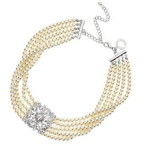 【送料無料】ネックレス ディパールジュエリーcollana di perle e strass centrali ottaviani bijoux 500074c