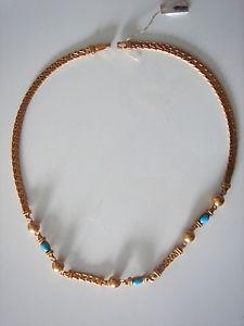 【送料無料】ネックレス ネックレスゴールドプレートアンプターコイズロングビンテージtres beau collier plaque or amp; turquoise long 455 cm 34 grs vintage neuf