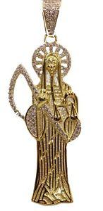 【送料無料】ネックレス サンタスターリングシルバーゴールドメッキsanta muerte grim reapear sainte death 925 argent sterling plaqu or avec