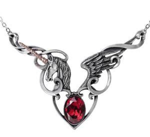 【送料無料】ネックレス ユニコーンハートペンダントゴシックthe maidens conquest unicorn cur ail pendentif alchemy gothic p836