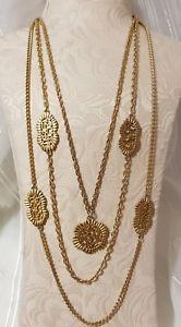 【送料無料】ネックレス ビンテージクリップランクメッシュチェーンペンダントcollier vintage 3 rang mtal dor chaine maille breloque pendentif ajour t8