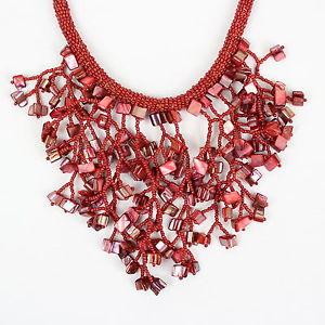 【送料無料】ネックレス クリップネックレスcorail rouge fusion collier rouge perles collier bib gros ras du cou db14