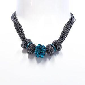 【送料無料】ネックレス メタリカコンアートsodini  collana girocollo multifilo metallica con cristalli turchesi art 9107