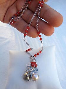 【送料無料】ネックレス イタリアアルジェントコンパールcollana in argento 925 con perle e corallo made in italy