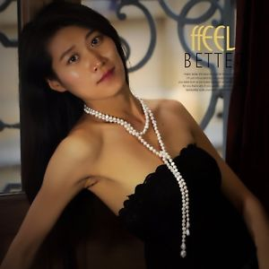【送料無料】ネックレス ロングネックレスパールバロックスカーフグロスホワイトcollier long perle culture baroque echarpe blanc brillant 8mm 9mm 150cm tz1a