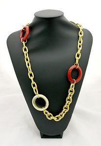 【送料無料】ネックレス カテナcollana bysimon a catena in ottone dorato e anelli tipo corallo