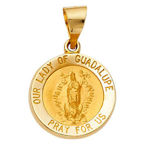 【送料無料】ネックレス メダルラウンドkイエローゴールドペンダントvirgen de guadalupe rond mdaille 14k or jaune rsistant pendentif