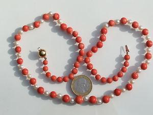 【送料無料】ネックレス ネックレスゴールドlgクラスプbeau collier en corail et perle de culture avec fermoir en or 18k 750 lg 59cm