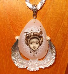 【送料無料】ネックレス ストーンハルクランプchouette fille pendentif stone amp; coque shenshin peint la main collier perles