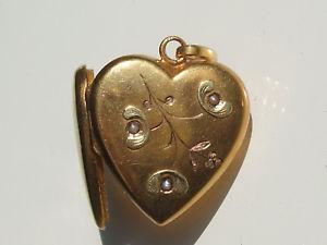 【送料無料】ネックレス ペンダントゴールドドアbeau pendentif porte photo ancien coeur avec gui en or 18k 750 jaune et vert