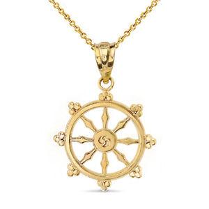 【送料無料】ネックレス イエローゴールドダルマクランプホイール14k or jaune bouddhisme dharmachakra dharma roue collier