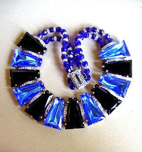 【送料無料】ネックレス カラーブロック1738 magnifique collier ras du cou paves de strass bleus et noirs