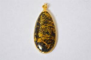 【送料無料】ネックレス kゴールドペンダントfabriqu main apache 10k or sphre pendentif noir chloridic schiste chalco