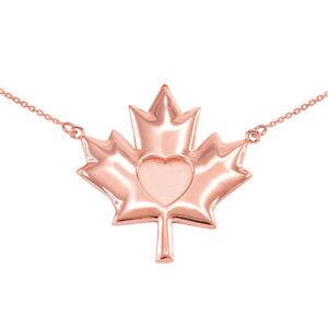 【送料無料】ネックレス ソリッドピンクゴールドハートメープルリーフ14k fin poli solide or rose coeur feuille drable collier
