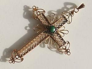 【送料無料】ネックレス kゴールドクロスターコイズトルコbelle et grande croix filigrane ancienne xixme en or 14k 585 avec turquoise