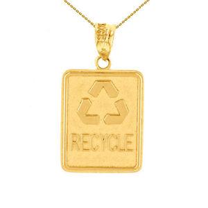 【送料無料】ネックレス ソリッドkゴールドイエローゴールドリサイクルリサイクルクランプパネルsolide 14k or jaune environnement recyclage dchets recyclage panneau collier