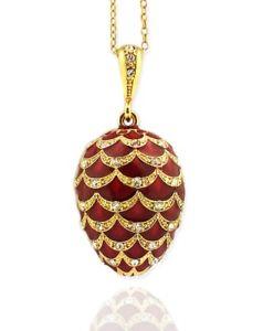 【送料無料】ネックレス ロシアソリッドシルバーエナメルペンダントrusse argent massif 925 rouge oeuf main pendentif maill rare