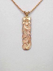 【送料無料】ネックレス ハワイプルメリアkピンクゴールド14k or rose fait sur mesure hawaen 10mm plumeria fleur volutes vertical