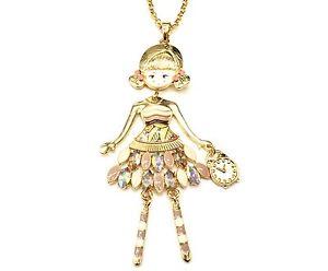 【送料無料】ネックレス ペンダントネックレスsp771e sautoir collier pendentif poupe articule femme robe mtal peint be