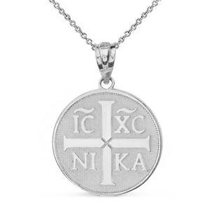 【送料無料】ネックレス kホワイトゴールドιχνικαキリストイエスクリップ14k or blanc christogramme ι χ νικα christ jsus conquers collier