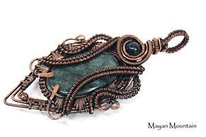 【送料無料】ネックレス グアテマラビッグジャガーカボションワイヤラップgrosse guatmaltque jaguar jadite jade cabochon fil enveloppe envelopp dans