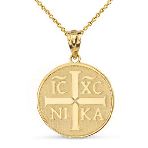 【送料無料】ネックレス ゴールドイエローゴールドιχνικαキリストイエスクリップ14k or jaune christogramme ι χ νικα christ jsus conquers collier
