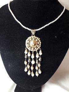 【送料無料】ネックレス ビンテージアルジェントネックレスpendente vintage argento placcato oro e perle collier collana ciondolo