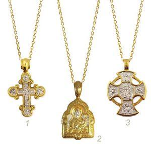 【送料無料】ネックレス ロシアシルバーゴールドバッチクロスマドンナアイコンメダルlot de 3 russe argent plaqu or crucifix croix amp; madonna et enfant icon mdaille
