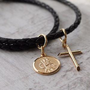 【送料無料】ネックレス カスタムソリッドゴールドラウンドサンクリストフクロスゴールドpersonnalis 9 ct or massif rond saint christophe amp; or croix collier en cuir