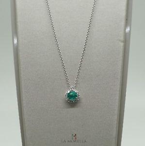 【送料無料】ネックレス コンcollana in oro 18 kt con pendente di smeraldo