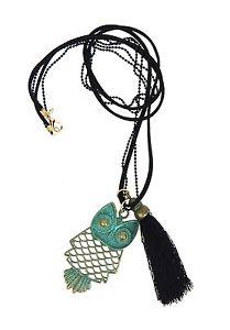 【送料無料】ネックレス クランプフクロウグリーンブラックレザーブレスレットフクロウシーズンchouette collier vert noir bracelet en cuir ella jonte long hibou neuf saison