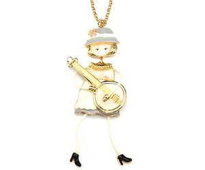 【送料無料】ネックレス ペンダントネックレスsp746e sautoir collier pendentif poupe articule femme robe mtal peint be