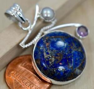 【送料無料】ネックレス ラピスラズリスターリングシルバーペンダントcuivre lapis lazuli amp; perle pendentif en argent sterling 925 ; b468