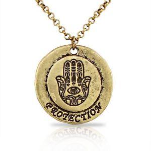 【送料無料】ネックレス ゴールデントーンラウンドantique jaune ton dor rond khamsa mauvais oeil protection collier
