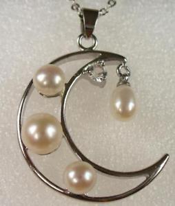 【送料無料】ネックレス ファッションブラックホワイトパールピンクペンダントネックレスfashion1uk noir blanc rose perle deau frache lune charme collier pendentif