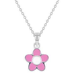 【送料無料】ネックレス スターリングシルバーエナメルピンクネックレスペンダントen argent sterling 925 rose maill collier pendentif fleur pour fille 406cm