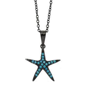 【送料無料】ネックレス スターリングシルバーターコイズネックレスfemmes en argent sterling 925 noir rh toile de mer turquoise collier