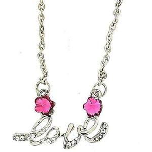 【送料無料】ネックレス トーンピンクシルバークランプtoc ton argent rose amp; strass transparent fleur amour mot collier 18 51cm